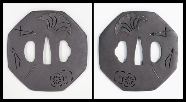【売約済】 商品番号:T-056 鐔:四方剣丸紋繋透図 京透鍔として保存刀装具鑑定書付