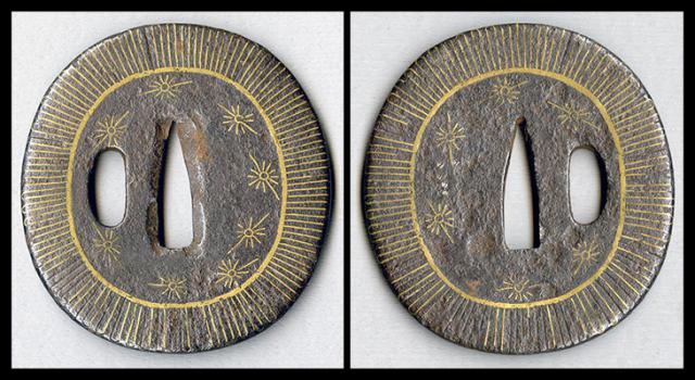 商品番号:T-066 鍔:花の図 平安城象嵌鍔