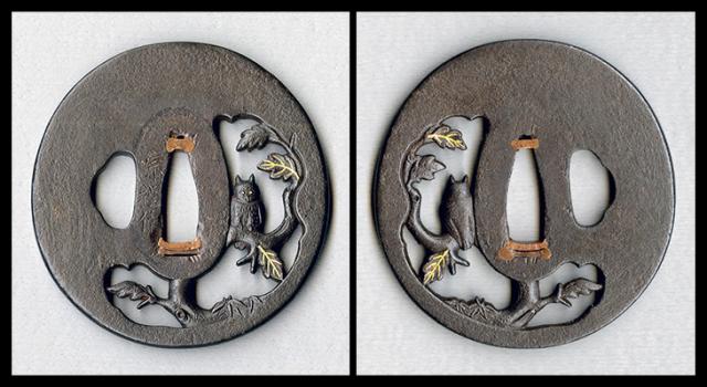【売約済】 商品番号:T-070 鍔:梟の図 銘:宗程作