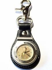 国内製クオーツ時計☆坂本龍馬・肖像文字盤 キーホルダー型