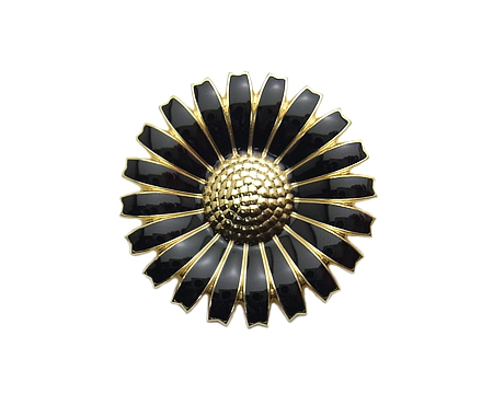 ブローチ ペンダント デイジー - ブラック (ゴールド)
