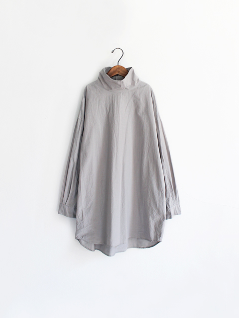 TOUJOURS (トゥジュー)  High Neck Big Shirt - ORGANIC COTTON SHEETING CLOTH