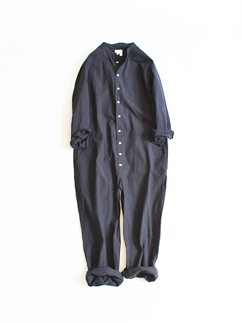 TOUJOURS (トゥジュー) Band Collar All in one Suit - HIGH COUNT COTTON*LINEN TYPEWRITER CLOTH