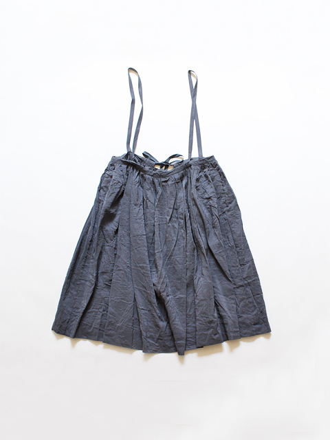 TOUJOURS (トゥジュー)  Drawstring Suspender Skirt - WASHED LINEN SILK CHAMBRAY CLOTH