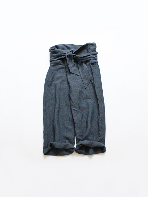 TOUJOURS (トゥジュー)  Thai Style Wide Pants - WASHED IRISH LINEN CHAMBRAY CLOTH - VM28RP04