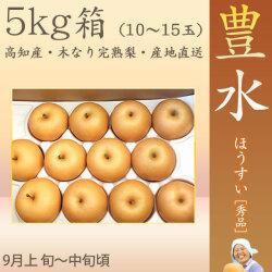 豊水 梨 (ほうすい なし)・秀品・5kg・10〜15玉入り・徳久梨園の木なり完熟【産地直送】