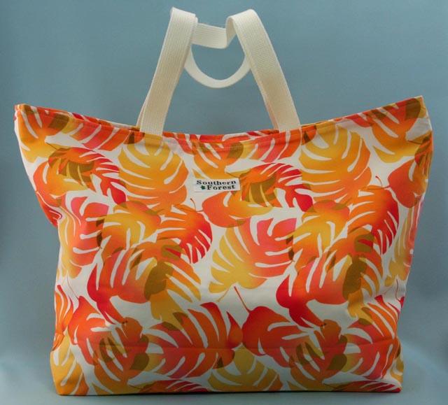 トート、バッグ、きんちゃく、美しい、夏、モンステラ、オレンジ、イエロー