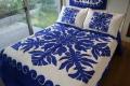 ハワイアンキルト、ベッドカバー、むら染め、フィッシュインコーラル、さんご礁の魚、ブルー、接写