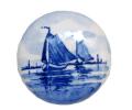 ヴィンテージ デルフト焼 オランダ 手描き染め付け 陶器ブローチ