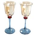 ヴィンテージ ルーマニアガラス ワイングラスペアセット