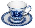 ロシア Gzhel グジェリ陶器 バラのティーカップ&ソーサー ハンドペイント染め付け
