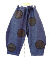 【frankygrowフランキーグロウ】BT-212/BEAR MT UNEVEN DOTS DENIM BIG PANTS/DARK/WOMEN