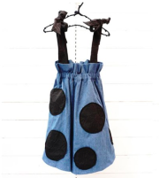 【frankygrowフランキーグロウ】BT-213/BEAR MT STRAP UNEVEN DOTS DENIM SKIRT/LIGHT/WOMEN
