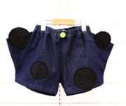 【frankygrowフランキーグロウ】BT-214/BEAR MT UNEVEN DOTS DENIM SHORT PANTS/DARK/WOMEN
