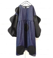 【frankygrowフランキーグロウ】OP-114/WAVE CUT SLEEVES UNEVEN DOTS DENIM DRESS/DARK/WOMEN