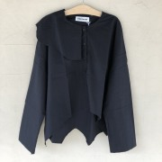 【UNIONINI】BL-008/wave collar blouse/black 大人