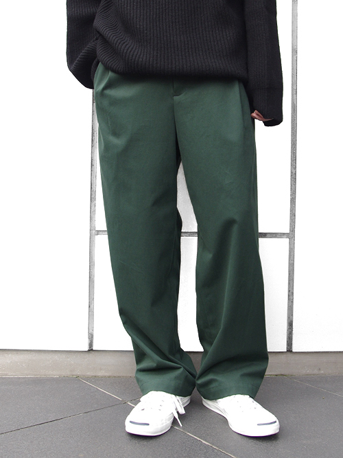 "<16AW> Edwina Horl  (エドウィナホール) // ""SIDE TUCK WIDE PANTS"" <ワイドパンツ> - DARK GREEN"