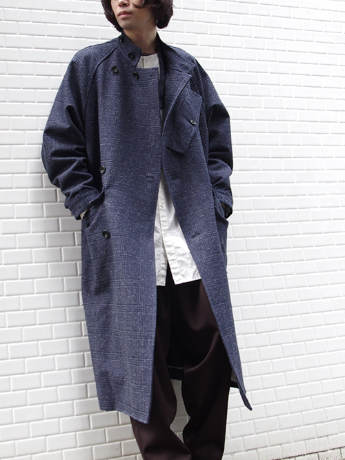"<17AW> Edwina Horl  (エドウィナホール) // ""STAND COLLAR COAT"" <スタンドカラーコート> - NAVY"