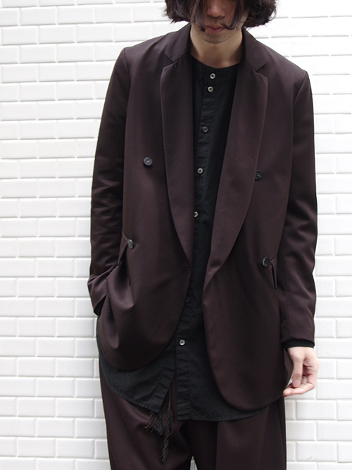 "<17AW> Edwina Horl  (エドウィナホール) // ""TAILORED JACKET"" <テーラードジャケット> - ORIGINAL GABARDINE ""SOIL"" (DARK BROWN)"