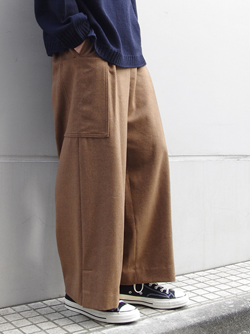 "<17AW> Edwina Horl  (エドウィナホール) // ""WIDE STRAIGHT PANTS"" <ワイドストレートパンツ> - ORIGINAL CASHMERE BEAVER ""THE EARTH""(CAMEL)"