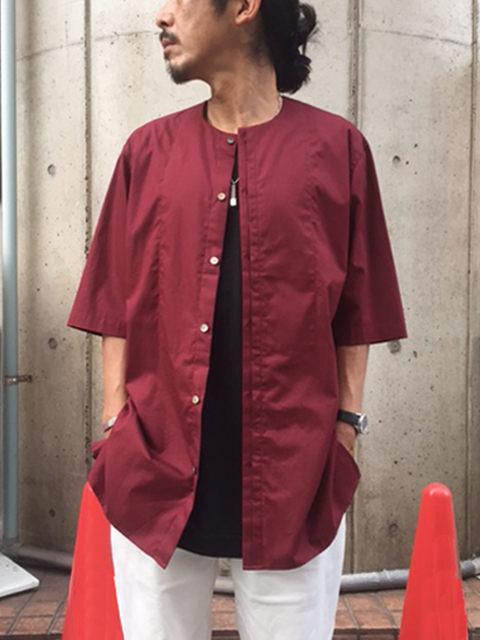 "<SALE> Edwina Horl  (エドウィナホール) // ""S/S NO COLLAR SHIRT"" <ノーカラーシャツ> - WINE"