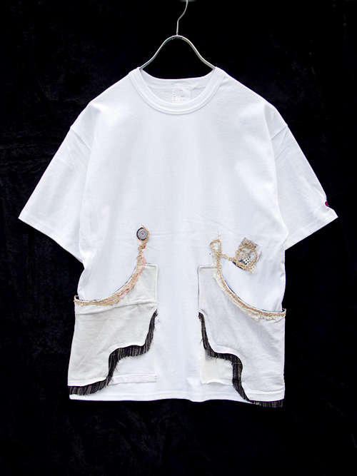 "GILET (ジレ) ""REMAKE POCKET TEE""  - WHITE <リメイクTシャツ/カットソー>"