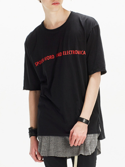"""【17SUMMER】 wizzard (ウィザード)  """"PRINT CUTSEW """"ELECTRONICA"""" <プリントTシャツ カットソー> BLACK"""
