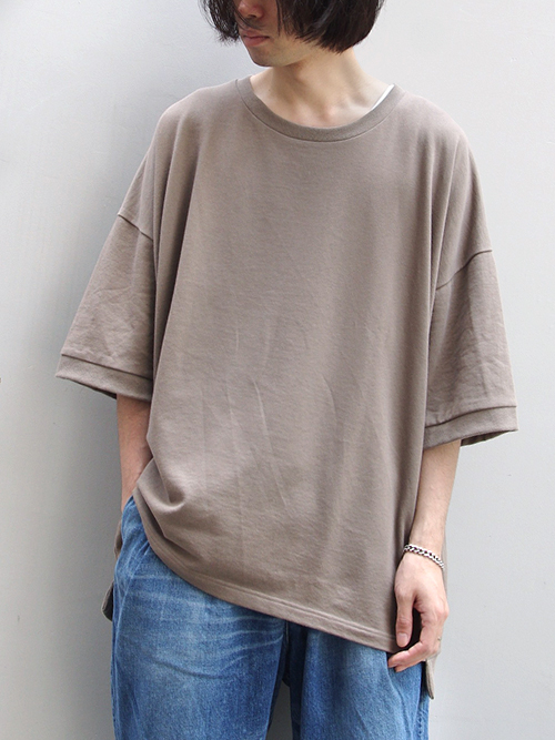 "【18AW】 my beautiful landlet (マイビューティフルランドレット)  ""mini fleecy BIG T-shirt"" <スウェット/Tシャツ/カットソー> - BEIGE"