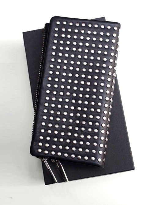 PATRICK STEPHAN (パトリックステファン) Leather long wallet 'all-studs' - SILVER STUDS #106AWA06  <レザーウォレット/長財布>