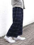 "Edwina Horl  (���ɥ����ʥۡ���) // ""WIDE CROPPED PANTS"" ��磻�ɥ���åץɥѥ�ġ� - NAVY �� WHITE CHECK"