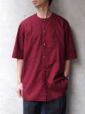 "<17SS> Edwina Horl  (エドウィナホール) // ""S/S NO COLLAR SHIRT"" <ノーカラーシャツ> - WINE"