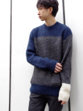 "【SALE】is-ness(イズネス)  ""BOREDOM MOHAIR JUMPER KNIT"" <モヘアニット> - NAVY×GRAY"