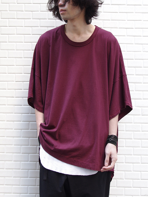 "【17SS】 wizzard (ウィザード)  ""WIDE CUTSEW"" <ワイドカットソー> - BURGUNDY"
