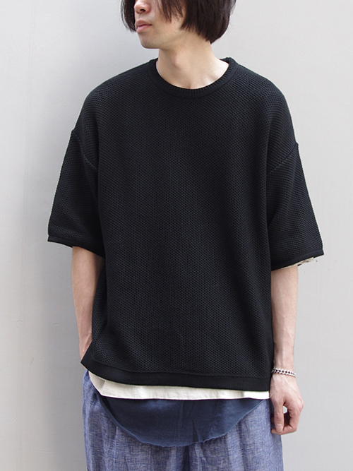 "【18SS/別注】 wizzard × SHELTER (ウィザード)  ""WIDE SUMMER KNIT"" <ワイドサマーニット> - BLACK"