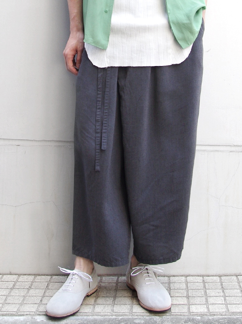 "【18SS】 wizzard (ウィザード)  ""WIDE CROPPED WRAP PANTS"" <ワイドクロップドパンツ> - GRAY"
