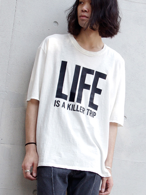 "【予約商品/少量限定生産】 wizzard (ウィザード)  ""PRINT CUTSEWN"" - ""LIFE IS A KILLER TRIP"" - WHITE <プリントT>"