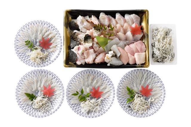 【橋詰鮮魚】淡路島3年とらふぐ てっちりセット(4人前)てっさ・白子・本家たかはしのポン酢付き
