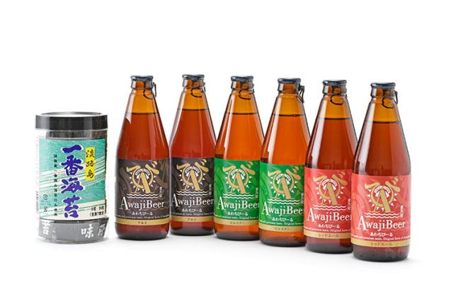 淡路島のクラフトビール「あわぢびーる」詰め合わせ(3種6本入り)と淡路島の一番摘みだけを贅沢に使用した極みの「淡路島一番海苔」セット(送料込)