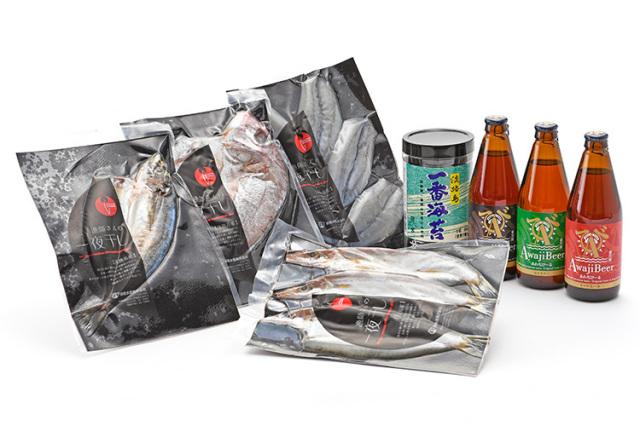 淡路島のクラフトビール「あわぢびーる」3種と漁師さんの一夜干し、淡路島の一番摘みだけを贅沢に使用した極みの「淡路島一番海苔」セット(送料込)