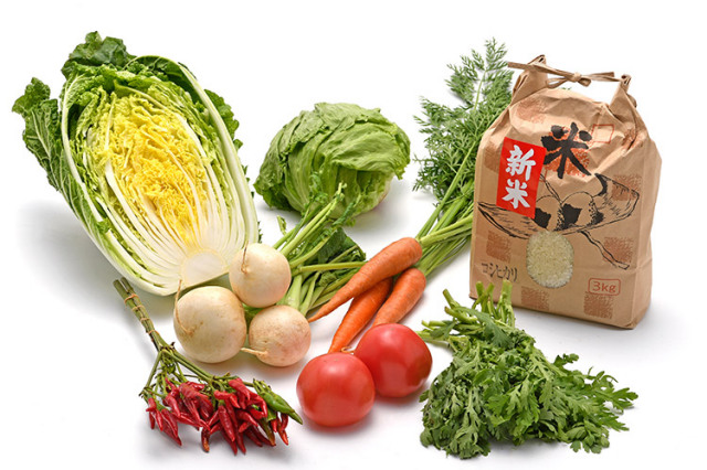 淡路島の新米と 市場からその日届いた「冬の野菜」を食べるセット