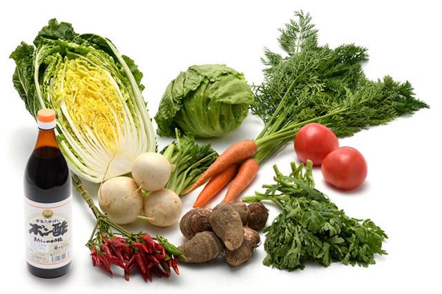 淡路島の市場からその日届いた「冬の野菜」を 本家たかはしのポン酢(大) で食べるセット