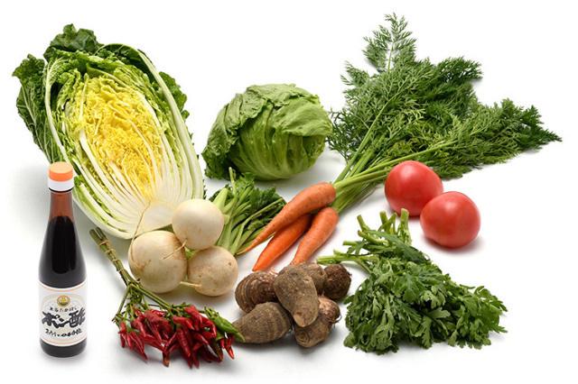 淡路島の市場からその日届いた「冬の野菜」を 本家たかはしのポン酢(小) で食べるセット