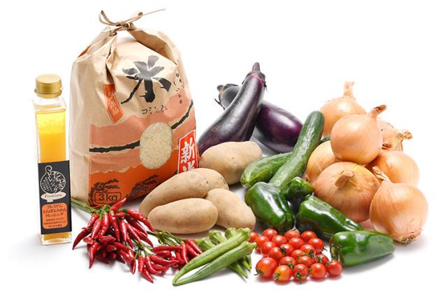 淡路島の新米と市場からその日届いた秋の野菜(淡路島産玉ねぎ付き)を健康プレミアム玉ねぎ&温州みかんドレッシングで食べるセット