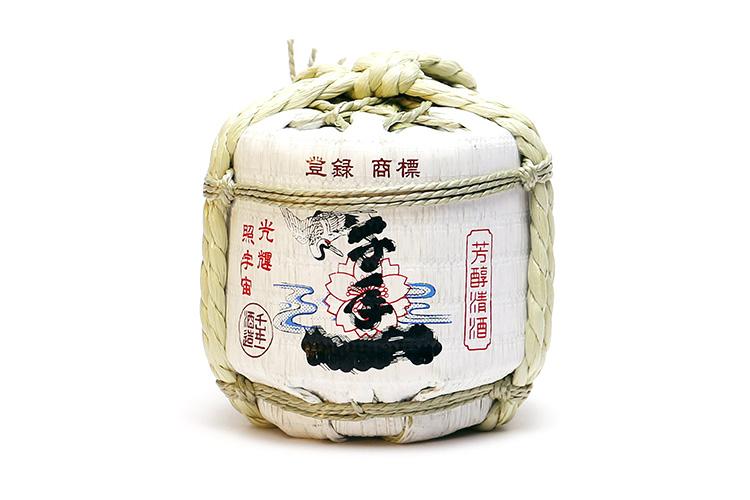 淡路島の地酒 千年一酒造 ミニ菰樽(こもだる)特製桝と淡路島の藻塩付き
