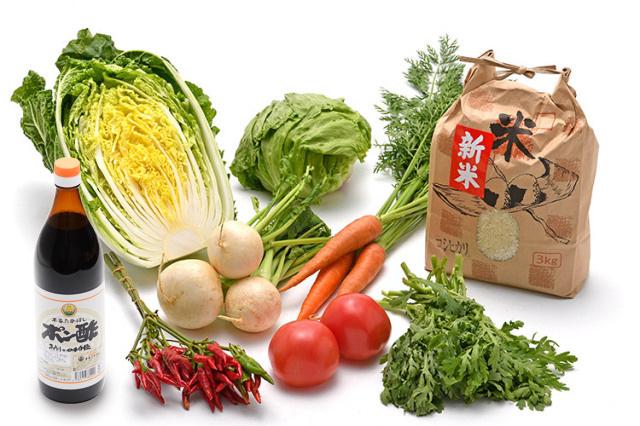 淡路島の新米と 市場からその日届いた「冬の野菜」を 本家たかはしのポン酢(大) で食べるセット