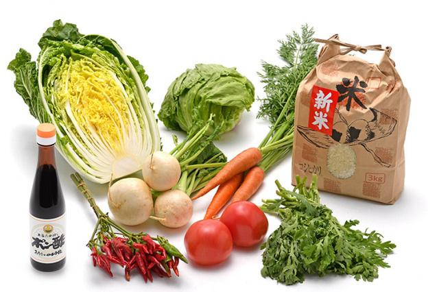 淡路島の新米と 市場からその日届いた「冬の野菜」を 本家たかはしのポン酢(小) で食べるセット