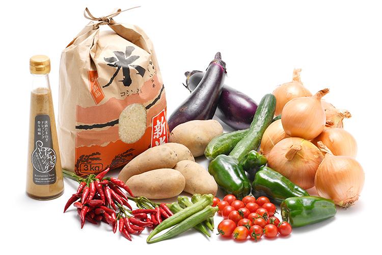 淡路島の新米と市場からその日届いた秋の野菜(淡路島産玉ねぎ付き)を健康玉ねぎ&香り胡麻ドレッシングで食べるセット