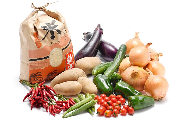 淡路島の新米と市場からその日届いた秋の野菜(淡路島産玉ねぎ付き)を食べるセット