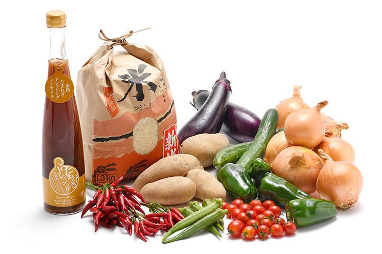 淡路島の新米と市場からその日届いた秋の野菜(淡路島産玉ねぎ付き)を健康玉ねぎドレッシング(ノンオイルお徳用)で食べるセット