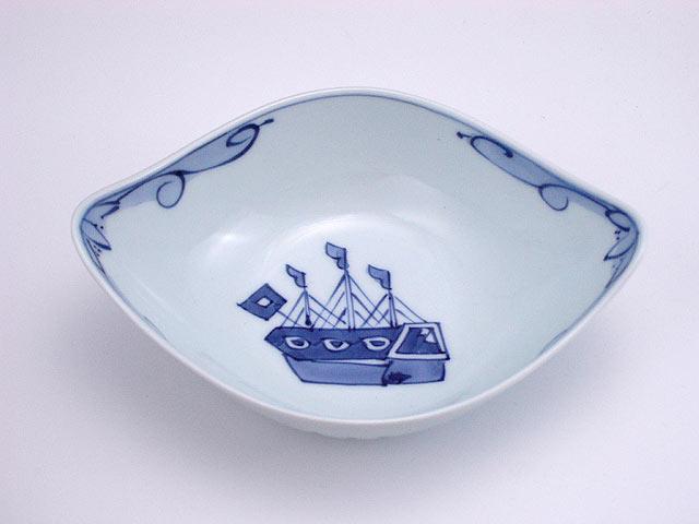 有田焼 青花 オランダ船舟型小鉢